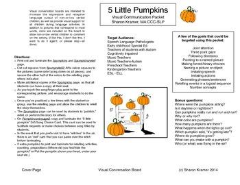 Visual Communication Board: Five Little Pumpkins