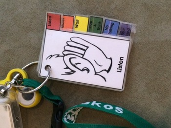 Stacked Visual Cue Reminders (Listen, Quiet, etc.) with Tabs for Teacher Lanyard