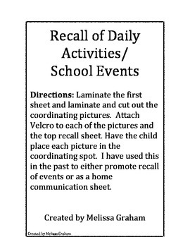 Visual Daily Recall for School Day