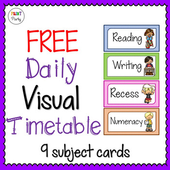 Daily Timetable | Visual Schedule Cards Free! By Print Party | Tpt