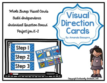 Visual Direction Cards: Whole Group and Individualized (BLUE)