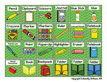 Visual Direction Cards: Whole Group and Individualized (GREEN)