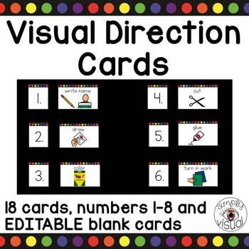 Visual Direction Cards with Editable Blank Cards