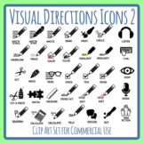 Visual Directions / Cues / Following Directions 2 Icons Clip Art Commercial Use