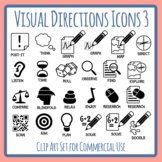 Visual Directions / Cues / Following Directions 3 Icons Clip Art Commercial Use