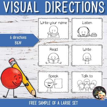 Visual Directions Flashcards - Freebie
