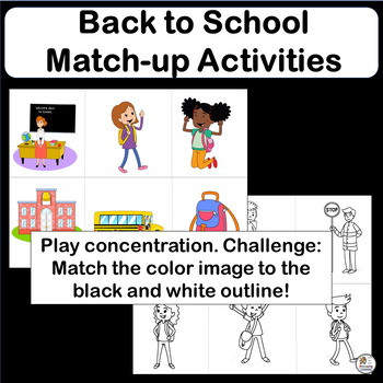 FREE! Same and Different: Back to School Matching Game!
