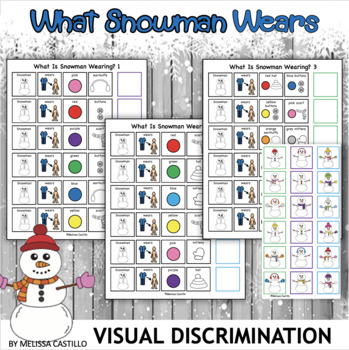 Visual Discrimination Boards : What is Snowman Wearing?