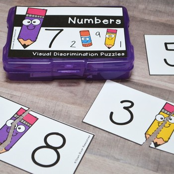Visual Discrimination Matching Puzzles - 2-D Shapes, Colors, Numbers, & People