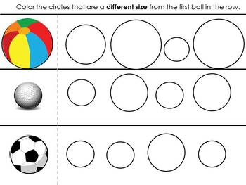 Visual Discrimination Task Cards/Worksheets for Same & Different Sizes