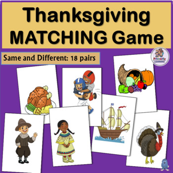Printable Visual Discrimination Match-up Game for Thanksgiving