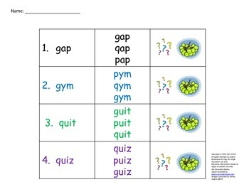 Visual Discrimination for letters g,p and q