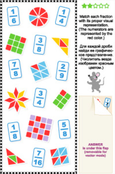 Visual Fractions Math Puzzle, Commercial Use Allowed
