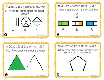 Visual Fractions of Shapes Task Cards for 3rd Grade
