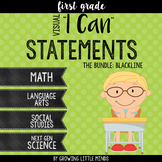 "*Visual ""I Can"" Statements for First Grade Common Core Standards- Blackline"