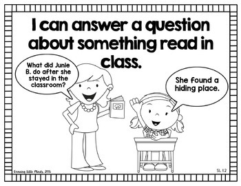 """*Visual """"I Can"""" Statements for First Grade Common Core Standards- Blackline"""