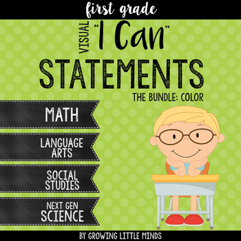 """Visual """"I Can"""" Statements for 1st grade Common Core Standards-  Color Bundle"""