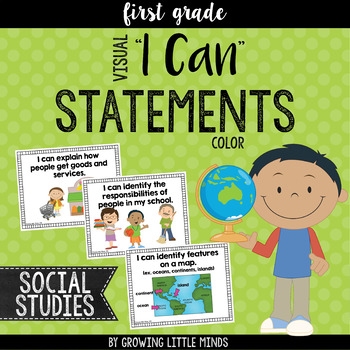 "Visual ""I Can"" Statements for First Grade Social Studies- color"