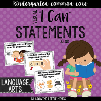 "Visual ""I Can"" Statements for Kindergarten ELA Common Core Standards- color"