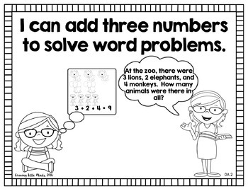 "Visual ""I Can"" Statements for First Grade Math Common Core Standards- blackline"