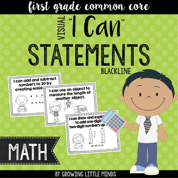 "Visual ""I Can"" Statements for First Grade Math Common Core"