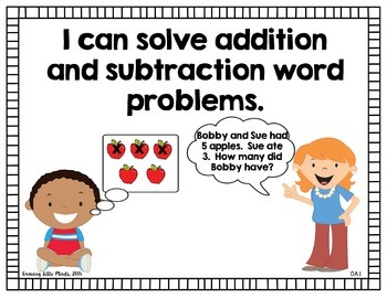 """Visual """"I Can"""" Statements for First Grade Math Common Core Standards- Color"""