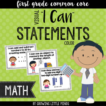 """Visual """"I Can"""" Statements for First Grade Math Common Core"""