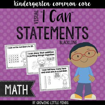 "Visual ""I Can"" Statements for Kindergarten Math Common Core Standards- blackline"