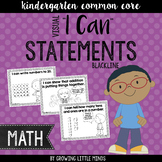 "Visual ""I Can"" Statements for Kindergarten Math Common Core Standards- blackline"