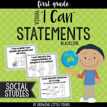 """Visual """"I Can"""" Statements for First Grade Social Studies-"""