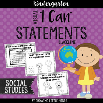 "Visual ""I Can"" Statements for Kindergarten Social Studies"