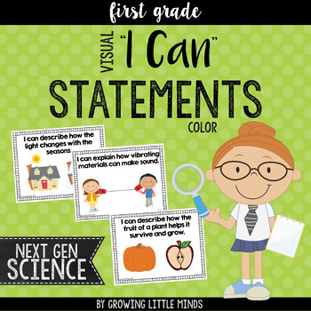 """Visual """"I Can"""" Statements for the 1st Grade Next Gen Science Standards- color"""