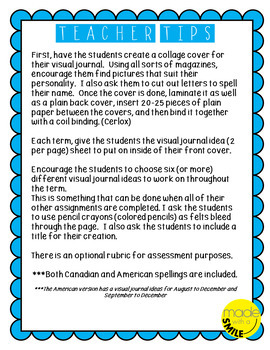 Visual Journal Creative Drawing Ideas With Canadian and American Spelling