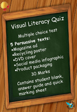 Visual Literacy Quiz - A test based on persuasive texts