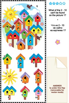 Visual Logic Puzzle - Birdhouses, Commercial Use Allowed