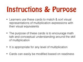 Visual Math Card Match & Sort for Multiplication Long Version