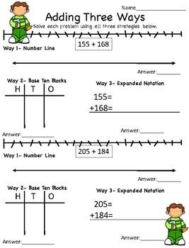 Visual Math- Triple Digit Addition- 3 Strategies!