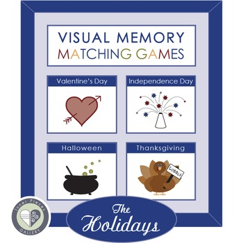 Visual Memory Matching Games THE HOLIDAYS with Valentine's