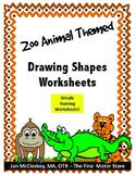 Visual Motor:  Simple Drawing Shapes Worksheets - Zoo Themed