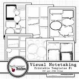 Visual Notetaking Printable and Editable Templates #1 for Visual Sketchnotes