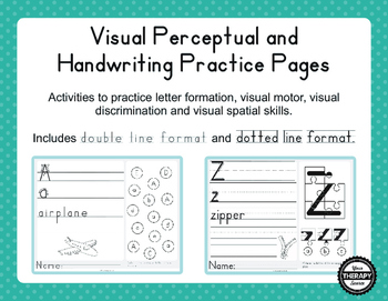 Visual Perceptual and Handwriting Practice Pages