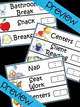 Visual Schedule Cards - Digital Clocks