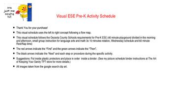 Visual Pre-K ESE Activity Schedule