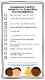 Visual Processing Disorder Accommodations Checklist