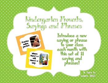 Visual Proverbs, Sayings, and Phrases for Kindergarten