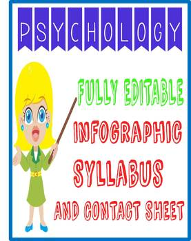 Visual Psychology Class Course Syllabus with Contact Sheet fully editable