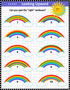 Visual Puzzle for Kids with Rainbows, Commercial Use Allowed