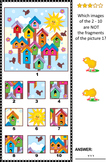 Visual Puzzle with Birds and Birdhouses, Commercial Use Allowed