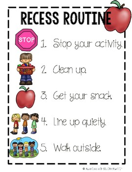 Recess Routine Visual Poster (PBIS)