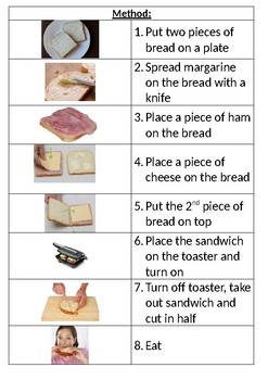 Visual Recipe: Ham and Cheese Sandwich